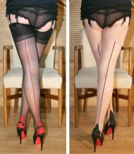 Contrast Seamed Luxury Stockings (3 Pair Pack)